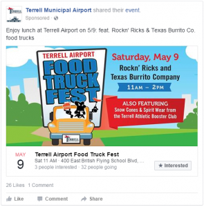 Sample Facebook ad campaign promoting a client event