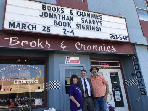Jonathan Sandys with Ron & Gayle Harris, Books & Crannies