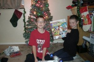 Jarod and Tristan opening presents.