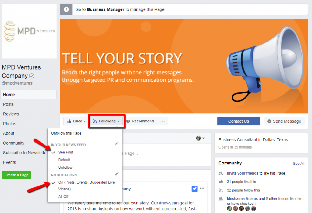 "Facebook Page screen capture showing ""See First"" in menu"